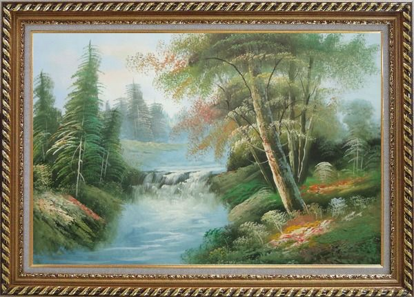 Framed Waterfall and Forest Landscape View Oil Painting Naturalism Exquisite Gold Wood Frame 30 x 42 Inches