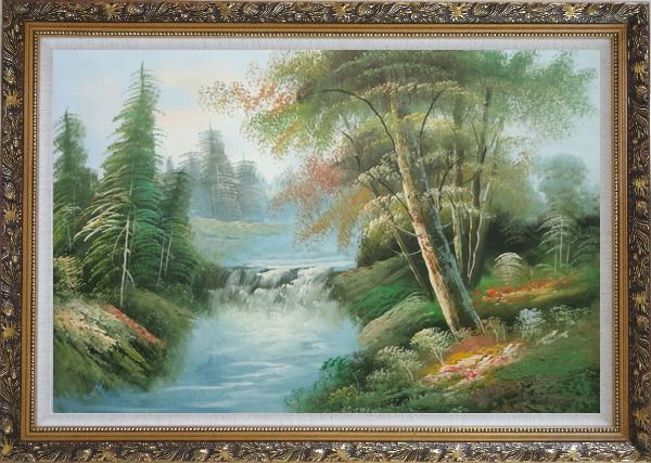 Framed Waterfall and Forest Landscape View Oil Painting Naturalism Ornate Antique Dark Gold Wood Frame 30 x 42 Inches