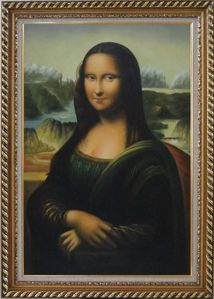 Framed Mona Lisa, Leonardo da Vinci Masterpiece Oil Painting Portraits Woman Classic Exquisite Gold Wood Frame 42 x 30 Inches