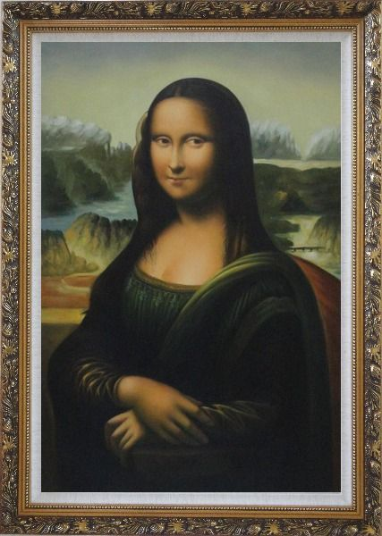 Framed Mona Lisa, Leonardo da Vinci Masterpiece Oil Painting Portraits Woman Classic Ornate Antique Dark Gold Wood Frame 42 x 30 Inches