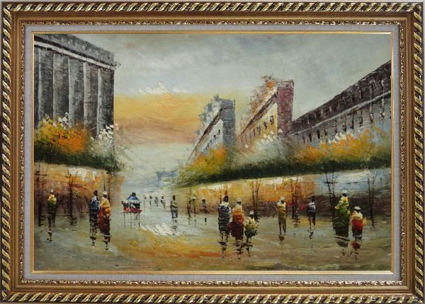Framed Pedestrian Walking on Paris Street Oil Painting Cityscape France Impressionism Exquisite Gold Wood Frame 30 x 42 Inches