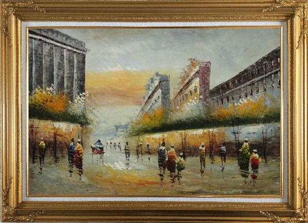 Framed Pedestrian Walking on Paris Street Oil Painting Cityscape France Impressionism Gold Wood Frame with Deco Corners 31 x 43 Inches