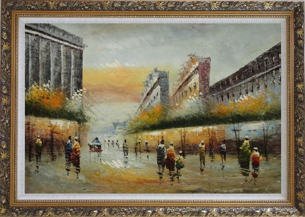 Framed Pedestrian Walking on Paris Street Oil Painting Cityscape France Impressionism Ornate Antique Dark Gold Wood Frame 30 x 42 Inches