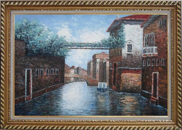 Framed Quiet Venice Street Scene Oil Painting Italy Naturalism Exquisite Gold Wood Frame 30 x 42 Inches