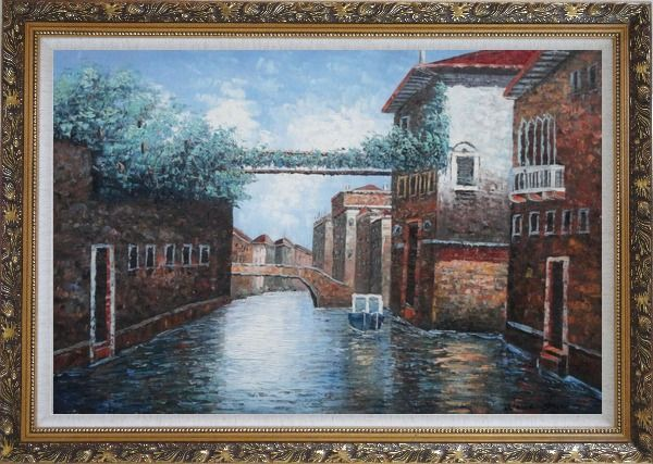 Framed Quiet Venice Street Scene Oil Painting Italy Naturalism Ornate Antique Dark Gold Wood Frame 30 x 42 Inches