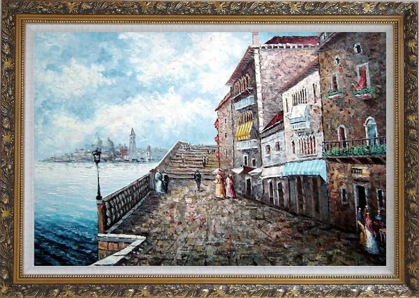 Framed People Strolling On Venice Sidewalk Oil Painting Italy Naturalism Ornate Antique Dark Gold Wood Frame 30 x 42 Inches