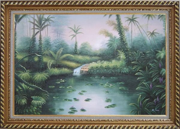 Framed Spring Colorful Waterlilies In Pond Oil Painting Landscape River Naturalism Exquisite Gold Wood Frame 30 x 42 Inches