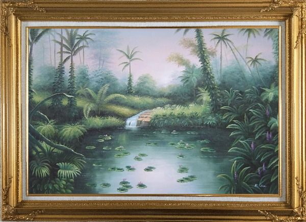Framed Spring Colorful Waterlilies In Pond Oil Painting Landscape River Naturalism Gold Wood Frame with Deco Corners 31 x 43 Inches