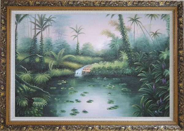 Framed Spring Colorful Waterlilies In Pond Oil Painting Landscape River Naturalism Ornate Antique Dark Gold Wood Frame 30 x 42 Inches