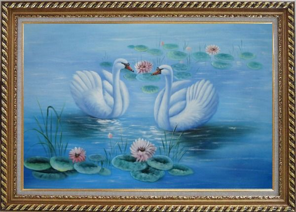 Framed Lovely Pair of Swans in Pond around Pink Lilies Oil Painting Animal Naturalism Exquisite Gold Wood Frame 30 x 42 Inches