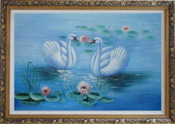 Framed Lovely Pair of Swans in Pond around Pink Lilies Oil Painting Animal Naturalism Ornate Antique Dark Gold Wood Frame 30 x 42 Inches