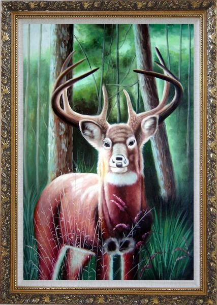 Framed Deer in Forest Oil Painting Animal Naturalism Ornate Antique Dark Gold Wood Frame 42 x 30 Inches