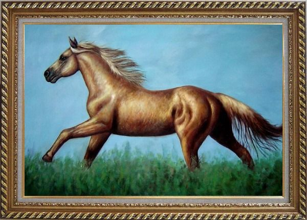 Framed A Running Brown Horse in Green Field Oil Painting Animal Naturalism Exquisite Gold Wood Frame 30 x 42 Inches