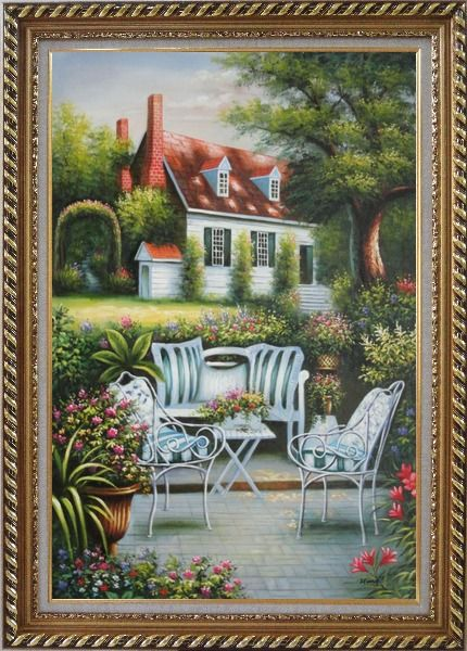 Framed Chairs, Table and Flowers on Back Yard of Elegant Red-Roof House Oil Painting Garden Classic Exquisite Gold Wood Frame 42 x 30 Inches