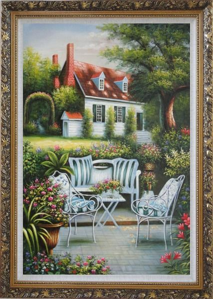 Framed Chairs, Table and Flowers on Back Yard of Elegant Red-Roof House Oil Painting Garden Classic Ornate Antique Dark Gold Wood Frame 42 x 30 Inches