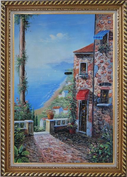 Framed Stone House and Road of Mediterranean Village Oil Painting Naturalism Exquisite Gold Wood Frame 42 x 30 Inches