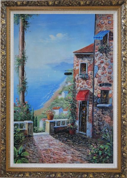 Framed Stone House and Road of Mediterranean Village Oil Painting Naturalism Ornate Antique Dark Gold Wood Frame 42 x 30 Inches