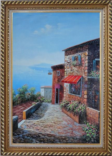 Framed A Coastal Stone House in Greece Oil Painting Mediterranean Naturalism Exquisite Gold Wood Frame 42 x 30 Inches