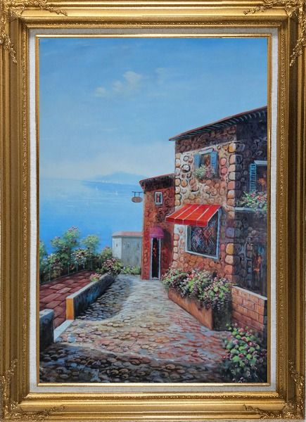 Framed A Coastal Stone House in Greece Oil Painting Mediterranean Naturalism Gold Wood Frame with Deco Corners 43 x 31 Inches