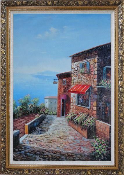 Framed A Coastal Stone House in Greece Oil Painting Mediterranean Naturalism Ornate Antique Dark Gold Wood Frame 42 x 30 Inches
