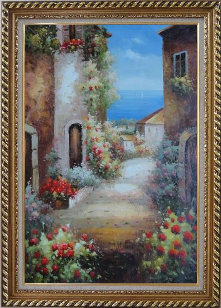 Framed Mediterranean Alley With Flowers Oil Painting Naturalism Exquisite Gold Wood Frame 42 x 30 Inches