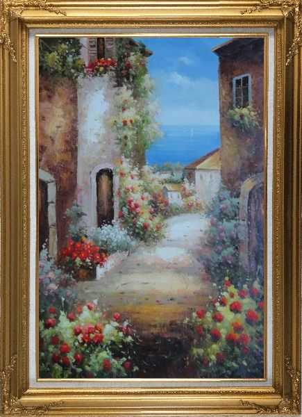 Framed Mediterranean Alley With Flowers Oil Painting Naturalism Gold Wood Frame with Deco Corners 43 x 31 Inches