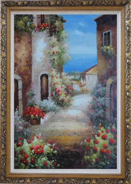 Framed Mediterranean Alley With Flowers Oil Painting Naturalism Ornate Antique Dark Gold Wood Frame 42 x 30 Inches