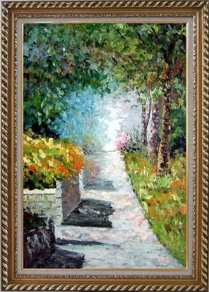 Framed A Tranquil Path Through the Woods in a Garden Oil Painting France Impressionism Exquisite Gold Wood Frame 42 x 30 Inches