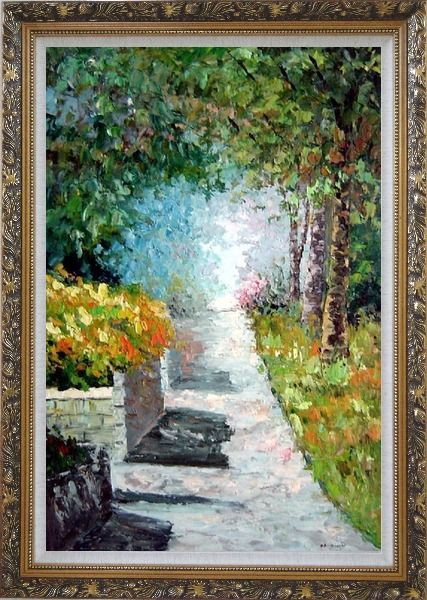 Framed A Tranquil Path Through the Woods in a Garden Oil Painting France Impressionism Ornate Antique Dark Gold Wood Frame 42 x 30 Inches