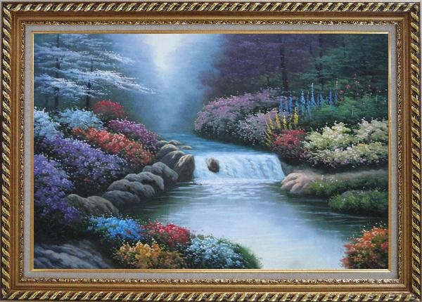 Framed Water Stream Along Beautiful and Colorful Forest Oil Painting Landscape River Naturalism Exquisite Gold Wood Frame 30 x 42 Inches
