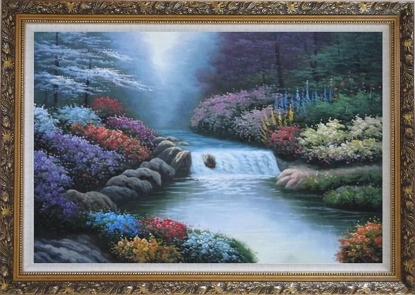 Framed Water Stream Along Beautiful and Colorful Forest Oil Painting Landscape River Naturalism Ornate Antique Dark Gold Wood Frame 30 x 42 Inches