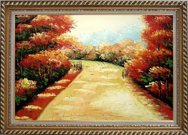 Framed Autumn Walk Oil Painting Landscape Tree Impressionism Exquisite Gold Wood Frame 30 x 42 Inches