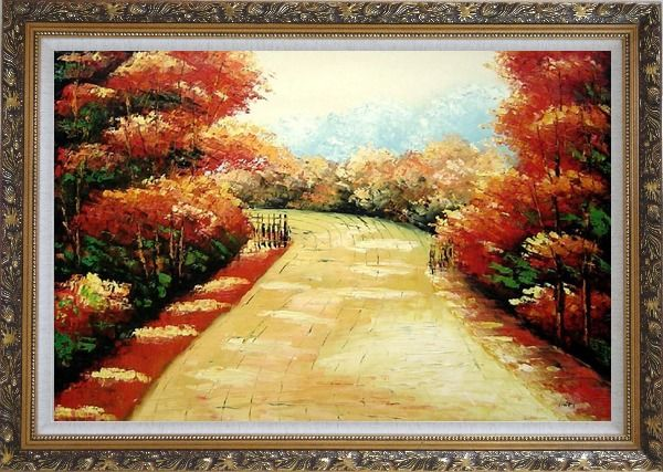 Framed Autumn Walk Oil Painting Landscape Tree Impressionism Ornate Antique Dark Gold Wood Frame 30 x 42 Inches