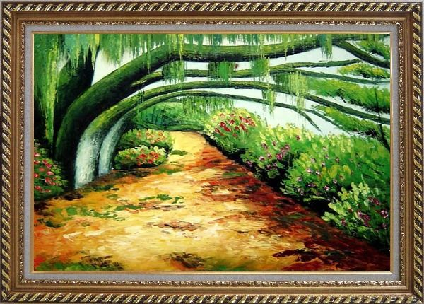 Framed Green Trail Under Old Tree Oil Painting Landscape Spring Naturalism Exquisite Gold Wood Frame 30 x 42 Inches