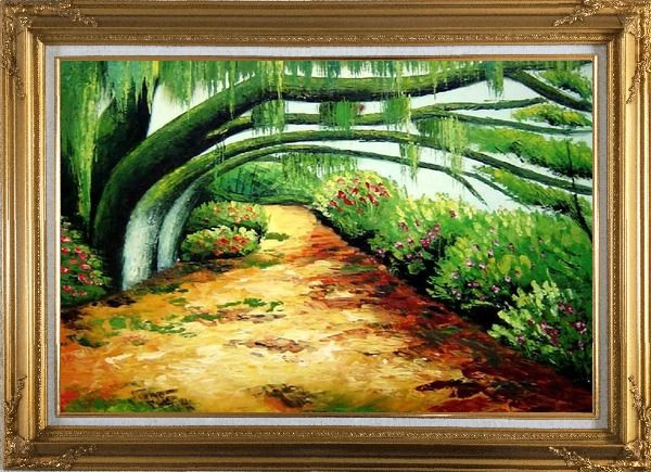 Framed Green Trail Under Old Tree Oil Painting Landscape Spring Naturalism Gold Wood Frame with Deco Corners 31 x 43 Inches