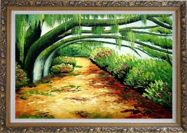 Framed Green Trail Under Old Tree Oil Painting Landscape Spring Naturalism Ornate Antique Dark Gold Wood Frame 30 x 42 Inches