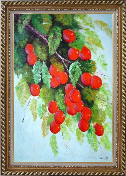 Framed Tree with Red Fruit at Harvest time Oil Painting Naturalism Exquisite Gold Wood Frame 42 x 30 Inches