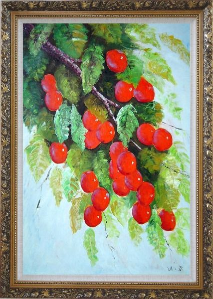Framed Tree with Red Fruit at Harvest time Oil Painting Naturalism Ornate Antique Dark Gold Wood Frame 42 x 30 Inches