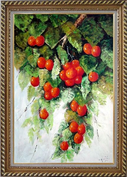 Framed Tree with Red Fruit in Graden Oil Painting Naturalism Exquisite Gold Wood Frame 42 x 30 Inches