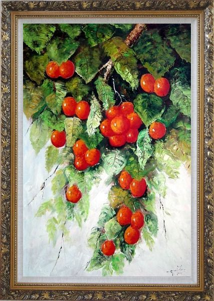 Framed Tree with Red Fruit in Graden Oil Painting Naturalism Ornate Antique Dark Gold Wood Frame 42 x 30 Inches