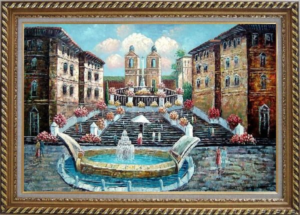 Framed Spring at the Public Square Oil Painting Cityscape Naturalism Exquisite Gold Wood Frame 30 x 42 Inches