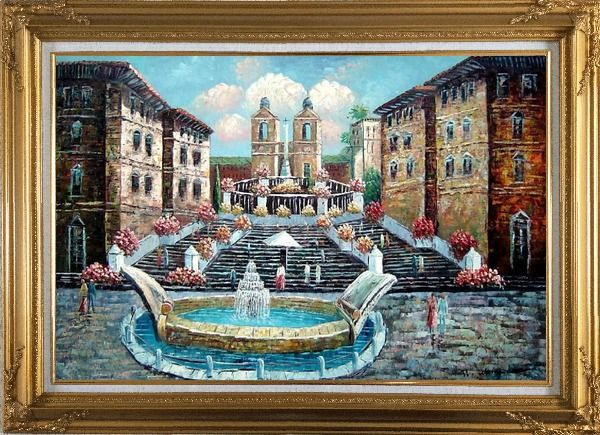 Framed Spring at the Public Square Oil Painting Cityscape Naturalism Gold Wood Frame with Deco Corners 31 x 43 Inches