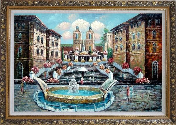 Framed Spring at the Public Square Oil Painting Cityscape Naturalism Ornate Antique Dark Gold Wood Frame 30 x 42 Inches