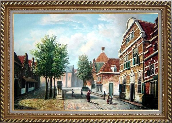 Framed  Dutch Village Street With Restful Atmosphere Oil Painting Classic Exquisite Gold Wood Frame 30 x 42 Inches