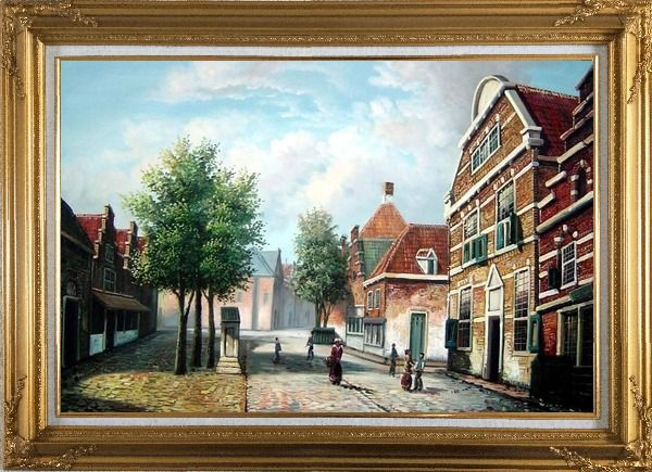 Framed  Dutch Village Street With Restful Atmosphere Oil Painting Classic Gold Wood Frame with Deco Corners 31 x 43 Inches