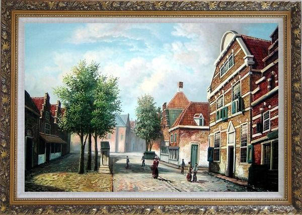 Framed  Dutch Village Street With Restful Atmosphere Oil Painting Classic Ornate Antique Dark Gold Wood Frame 30 x 42 Inches