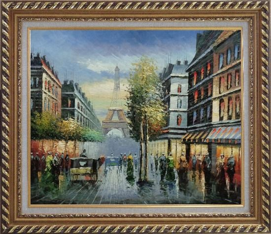 Framed Paris Busy Street Scene in Early 19 Century Oil Painting Cityscape France Impressionism Exquisite Gold Wood Frame 26 x 30 Inches