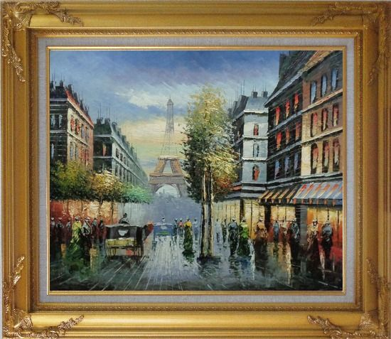Framed Paris Busy Street Scene in Early 19 Century Oil Painting Cityscape France Impressionism Gold Wood Frame with Deco Corners 27 x 31 Inches