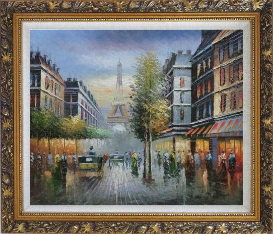 Framed Paris Busy Street Scene in Early 19 Century Oil Painting Cityscape France Impressionism Ornate Antique Dark Gold Wood Frame 26 x 30 Inches