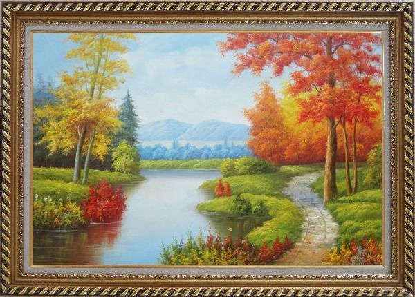 Framed Gorgeous Riverside Scenery in Golden Autumn Oil Painting Landscape Tree Naturalism Exquisite Gold Wood Frame 30 x 42 Inches